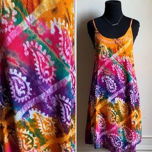 Vintage Boho Chic Multicolor Mini Dress